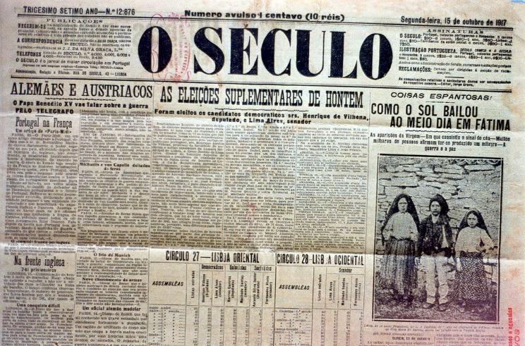 Świeckich portugalskich gazet O Seculo z 15 października 1917 r., Z wiadomościami o niezwykłych wydarzeniach w Fatimie